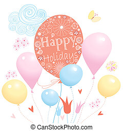 colorful birthday balloons - Festive card with colorful...