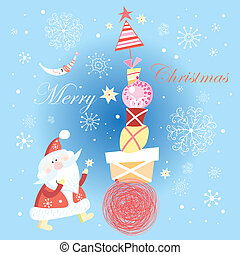 Christmas card with gifts and Santa Claus - bright festive...