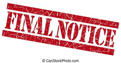 Final notice grunge red stamp