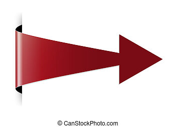 The red folded arrow - The red arrow with hidden edge effect