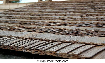 Up-close view of the cabin wooden cedar shingle shake roof -...
