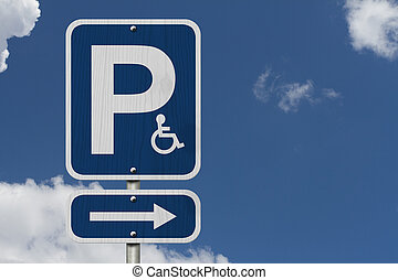 Handicap Parking Sign - An Blue American road sign with a P,...