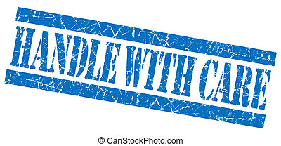 Handle with care grunge blue stamp