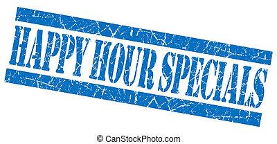 Happy hour specials grunge blue stamp