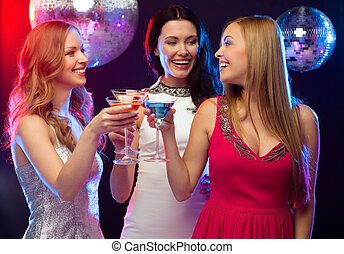 "three smiling women with cocktails and disco ball - ""new..."