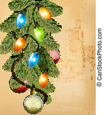 Christmas retro background with balls and fir branches...
