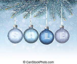 Christmas background with balls and branches Vector...