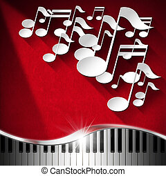 Music Piano and Note Background - Red Velvet - White musical...
