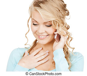 businesswoman with cell phone calling - communication and...