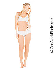 beautiful woman in white cotton underwear - health,...