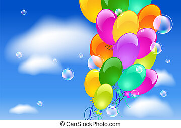 Balloons in the sky - Balloons in the blue clouds sky