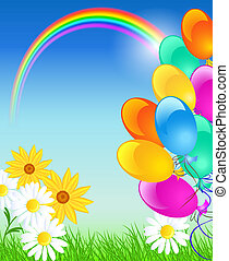 Rainbow, balloons and blue sky - Meadow flowers, rainbow,...