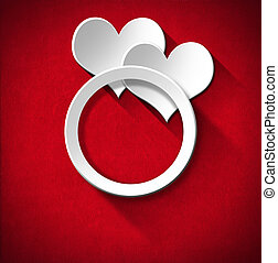 Wedding Ring and Two Hearts - Two stylized white hearts and...