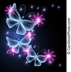 Butterflies and stars - Glowing background with transparent...