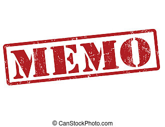 Memo stamp - Memo grunge rubber stamp on white, vector...