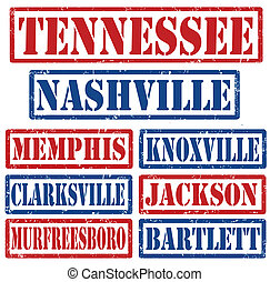 Tennessee Cities stamps - Set of Tennessee cities stamps on...