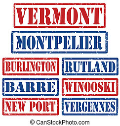 Vermont Cities stamps - Set of Vermont cities stamps on...