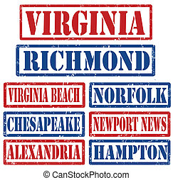 Virginia Cities stamps - Set of Virginia cities stamps on...