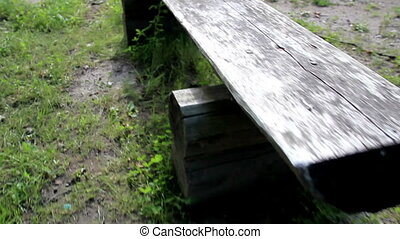 Old wooden park bench