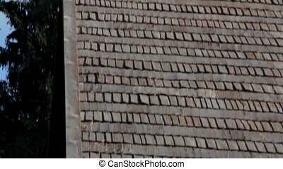 The brown tar oiled wooden shingle shake roof of a big lath Fenced log House