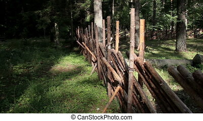 Wooden fence of the log house protecting great number of trees from outside