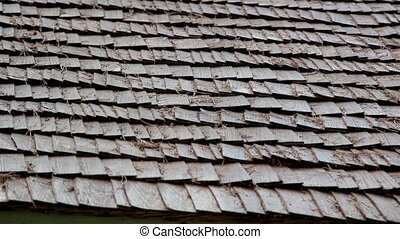 Closer image of the wooden shingle shake roof prickles