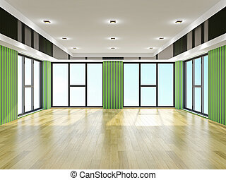 Empty hall with green wallpaper