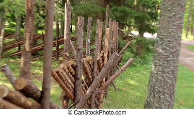 The wooden lath fence of the house - Wooden lath Fence an...