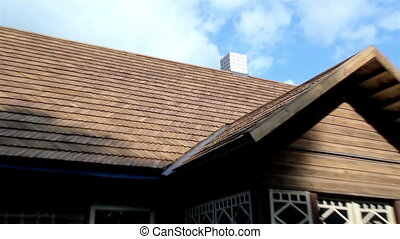 The cedar wooden shingle roof of the house - Wooden shingle...