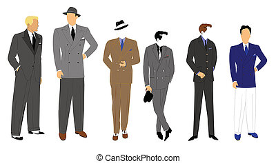 retro mens fashions - vintage men in suits in various styles...