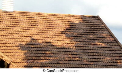 Front view of the the cedar wooden shingle roof of the house...