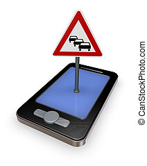 traffic app - smartphone with road sign traffic jam on white...