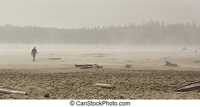 Long Beach Haze - People in the fog on Long Beach, Vancouver...