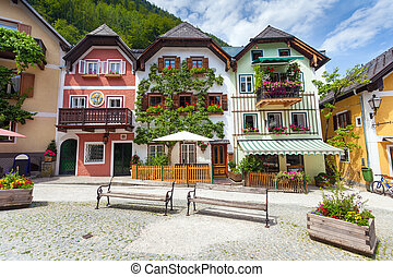 Colorful houses village square in Hallstatt, Austria