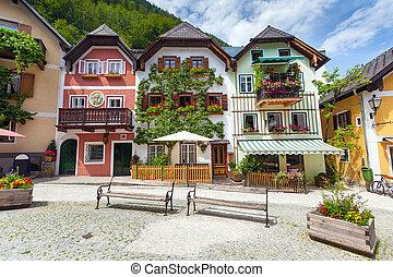 Colorful houses village square in Hallstatt, Austria