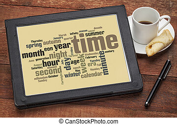 time and calendar word cloud - cloud of words related to...