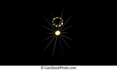 Abstract Golden Stars on Black, Seamless Loop Animated...