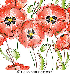 Seamless Background with Red Poppy Flowers