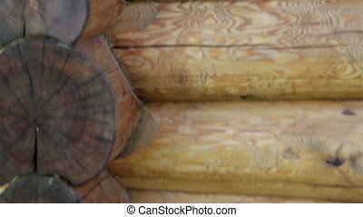 Upward view of the corner of the cabin log house tenon -...