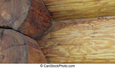 Close-up view of the corners of the cabin log house tenon. A...