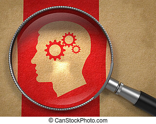 Magnifying Glass with Psychological Concept - Magnifying...