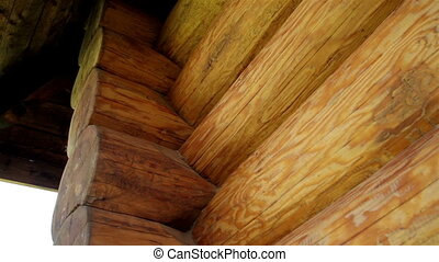 Closeup view of the corners of the cabin log house tenon -...