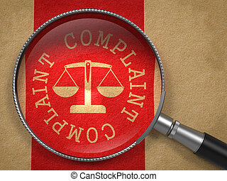 Magnifying Glass with Complaint Concept. - Magnifying Glass...