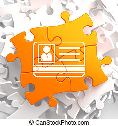 ID Card Icon on Orange Puzzle. Identification Concept.