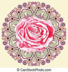 ornamental circle pattern with watercolor rose