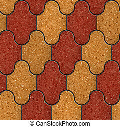 Paving Slabs Seamless Tileable Texture - Red and Yellow...