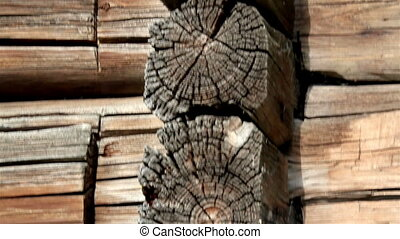 Damaged log of the cabin log is clearly visible when you...