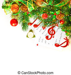Festive musical still life, red treble clef and notes...