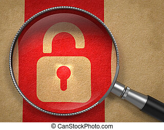 Magnifying Glass with Security Concept. - Magnifying Glass...