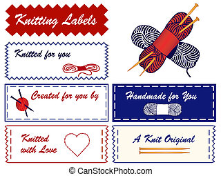 Knitting Sewing Labels, yarn, wool, skeins, heart, love,...